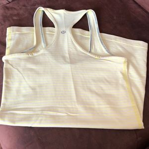 Lululemon race back tank top yellow and white